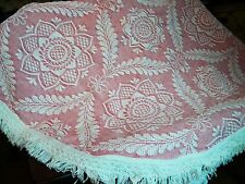 Morgan Jones twin jacquard bedspread pink ivory lg scale pattern fringe rare