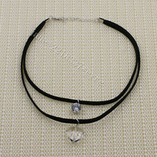 2016 Summer Harajuku Double Pendant Necklace Chocker Black Velvet Cord Chain