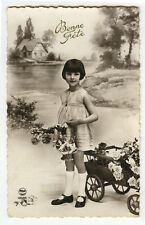 c 1930 French Children Child Cute LITTLE PAGEBOY GIRL Fashion photo postcard