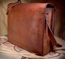 Satchel Briefcase Bag Vintage Crafts Leather Messenger Men's Women's Laptop NEW!