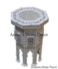 Handcrafted White Moroccan Mother of Pearl Inlaid Wood Side End Coffee Table