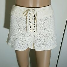 NEW H&M CREAM LACE TIE UP FRONT BOHO BOHEMIAN 70S STYLE SHORTS