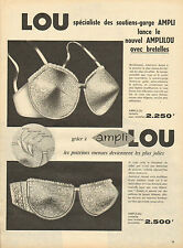 Publicité Advertising 1959  Lingerie LOU soutien gorge ampli slip femme