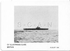 WWII Double Sided Recognition Photo Card- England- UK Warship- CV Illustrious