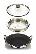 """Curtis Stone DuraPan 12"""" Multipurpose Deep Pan with Steamer Tray & Glass Lid"""