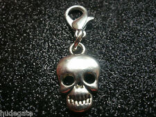10 Silver Tone Halloween Skull Clip on Charms for Bracelets Wholesale Jewellery