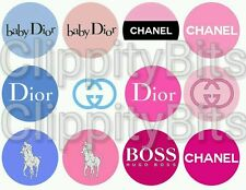 "50 x 1"" Inch Pre Cut Bottle Cap Images Pink Designer Brands Pictures bows craft"