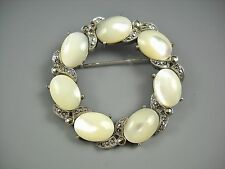 Marcasite and Pearl Look Vintage Silver Tone Round Brooch Pin