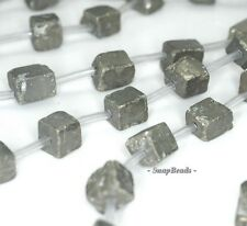 6MM-8MM IRON PYRITE GEMSTONE  ROUGH CUBE POLISH 66MM-8MM LOOSE BEADS 7.5""