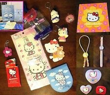 Lot of 21 Hello Kitty Sanrio Keychains, Collector Cards, Mirror, Gift Bags, RARE