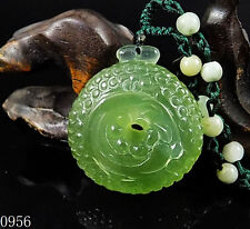 100% Natural Hand-carved Jade Pendant jadeite Necklace drgonfly phoenix coin#956