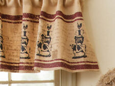 New Country Primitive Farm Animal Pig Cow Sheep Rooster Burlap Curtain Valance