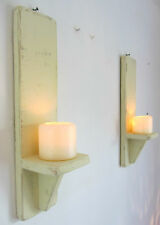 PAIR OF 40CM RECLAIMED WOOD SHABBY CHIC WALL SCONCE CANDLE HOLDER VINTAGE CREAM