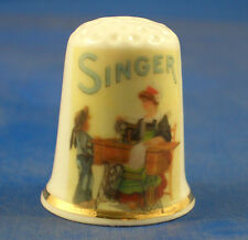 Birchcroft China Thimble -- Singer Sewing Lady -- Free Dome Gift Box