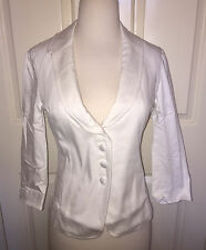 NEW 2 XS $98 Boston Proper White Cropped Blazer Seamed Stylish Spring Jacket
