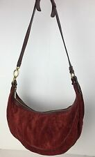 Authentic ETRO Milano Red Paisley Suede & Leather Hobo Shoulder Bag Purse