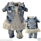 Magnificent Baby Girls 3 Piece Cotton Denim Lace Dimante Pearls Outfit Set