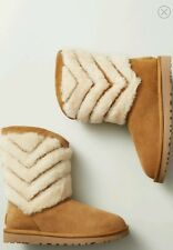 Women's Shoes UGG Tania Shearling Striped Boots Chestnut *New* Sz10