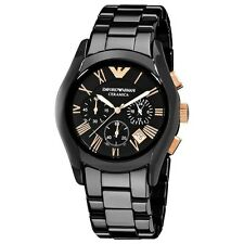 EMPORIO ARMANI CERAMICA BLACK ROSE GOLD CHRONOGRAPH MENS WATCH AR1410