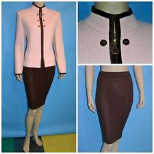 ST JOHN COLLECTION KNITS Pink JACKET Brown SKIRT XL L 12 14 2pc Suit PIPINGS