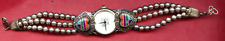 Vintage Sterling Beaded Watch Band w Zuni Inlaid Stone Heart Tips - Watch Works