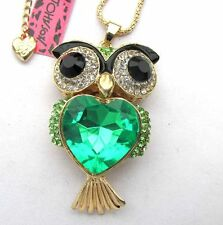 Betsey Johnson shiny crystal Green glass Pretty owl pendant Necklace#390L G