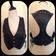 new $148 MARCIANO guess black leather crop moto DRESS IT UP VEST TOP shirt Mrare