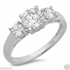1.45 CT Three Stone Halo Round Engagement Ring 14k SOLID White Gold Bridal Band