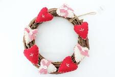 Gisela Graham Country Hearts Christmas Door Wreath- Red & Cream Decoration