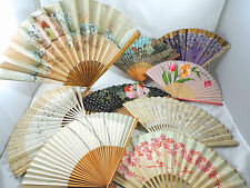 LOT of 9 VINTAGE ANTIQUE CHINESE WOOD PAPER SILK BAMBOO HAND FANS-HANDPAINTED