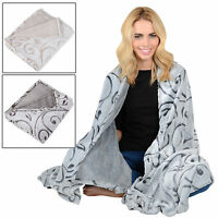 Fleece Blanket With Embossed Organic Design Soft Luxury Warm Home Sofa Bed Throw