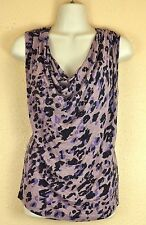 Anthropologie Deletta Top M Leopard Print Purple Ruched Cowl Neck Shirt Blouse