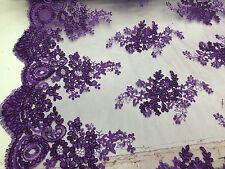 Dark Purple Flowers Embroider And On A Mesh Lace.36x50inches.wedding-bridal Lace