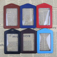1PCS  ID Card Badge Holder Vinyl Case Clear with Color Border and Lanyard Holes