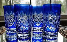 Vintage Bohemian/Czech Cobalt Blue Cut To Clear Tumblers/ Juice Glasses Set of 4