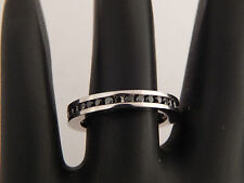 VOGATI Natural BLACK Diamond Stackable ETERNITY Wedding Band 1.10 ct 14k W/G 3mm