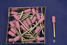 "25X 1/2""x 1/4"" Barrel Pink Grind Stone Aluminum Oxide fits Dremel or rotary"