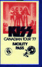 KISS CANADIAN TOUR 1977 FACILITY PASS ALL ACCESS Backstage Pass UNUSED Yellow