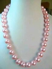 """Beautiful 8mm pink sea shell Pearl Necklace 18"""" AAA"""