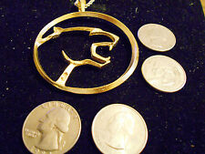 bling gold plated big cat cougar animal car pendant charm chain hip hop necklace