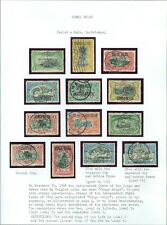 BELGIAN CONGO : 1908. Scott #31a-40a VF Used Complete set of handstamps Cat $433