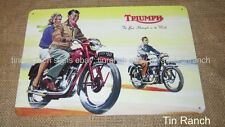 TRIUMPH MOTORCYCLE TIN SIGN! new vintage advertisement old motor bike motorbike