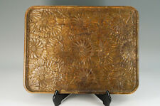 Japanese KARUIZAWA-BORI Woodcarving Rectangular Tray Chrysanthemum Auto 612k12
