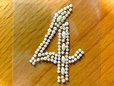 """2 x """"4"""" adesivo Perle Numeri Diamante finto Gemme Cristalli Strass"""