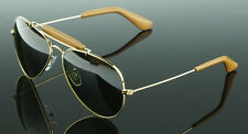 POLARIZED NEW Genuine RAY-BAN Aviator Leather Sunglasses RB 3422Q 001/M9 58MM