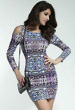 Sexy Purple Aztec Print Open Shoulder Stretch Bodycon Mini Dress Size 10/12