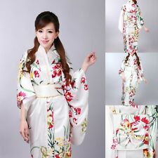Vintage Japanese Kimono Yukata Haori Costume Retro women Dress Obi Cosplay Gown