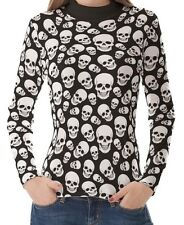 Black White Skull Pattern Women High Neck Turtleneck Tops Pullover Shirts