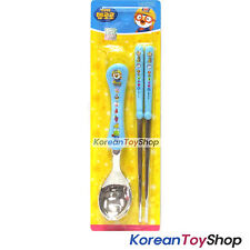 Pororo Basic Stainless Steel Spoon Chopsticks Set Blue BPA Free Made in Korea