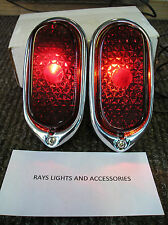 NEW REPLACEMENT PAIR OF RED LENS TAIL LIGHT ASSEMBLIES FOR 1940 40 CHEVROLET !